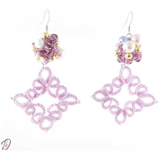 Lace pink uhani/earrings