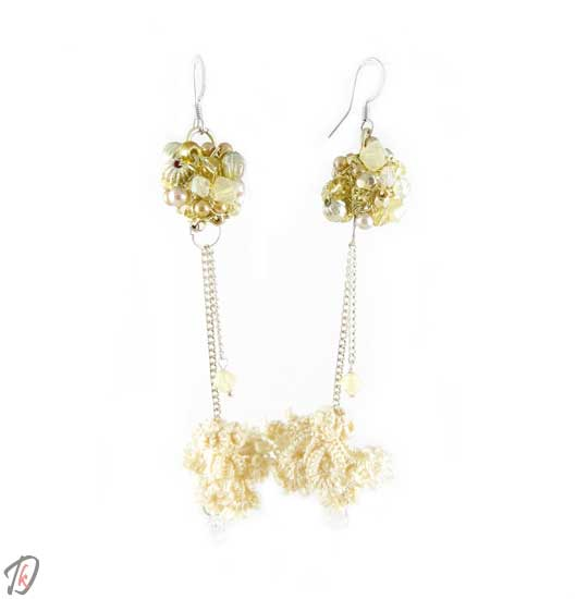 Lace beige Pulsatilla uhani/earrings