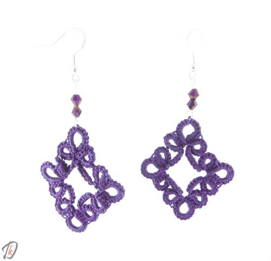 Lace purple romb uhani/earrings