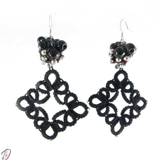 Lace black diva uhani/earrings