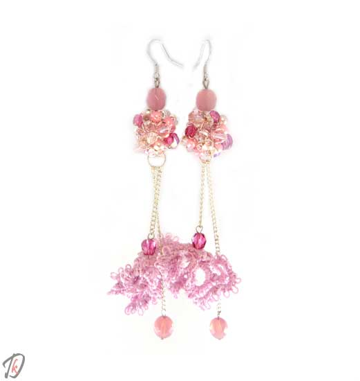 Lace pink Pulsatilla uhani/earrings