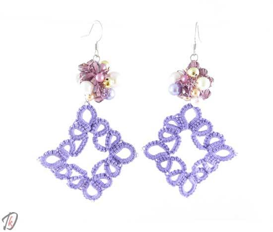 Lace lilac uhani/earrings