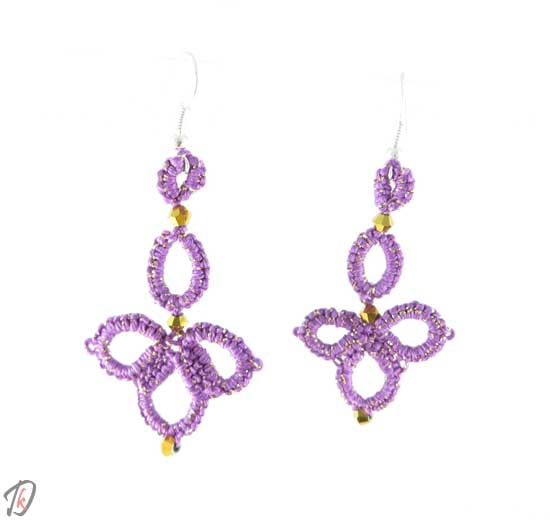 Lace lilac clover uhani/earrings