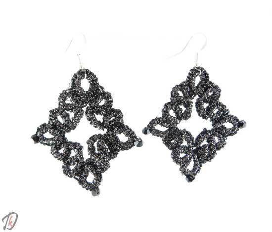 Lace black romb uhani/earrings