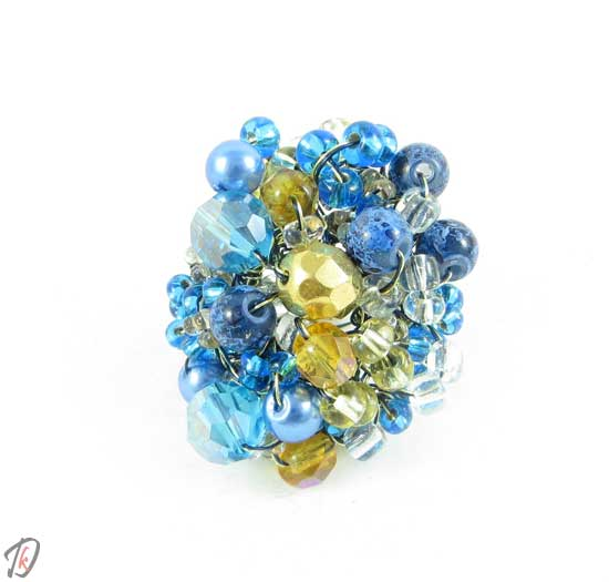 Blue rose ring/prstan