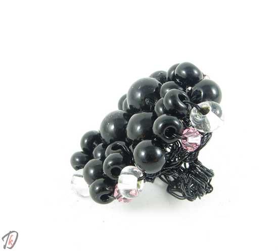 Black and pink ring/prstan